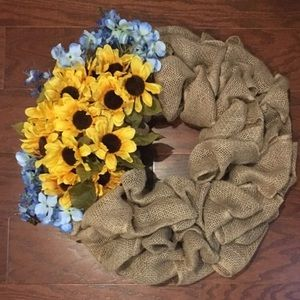 Custom Tan Burlap Wreath With Sunflower Accents